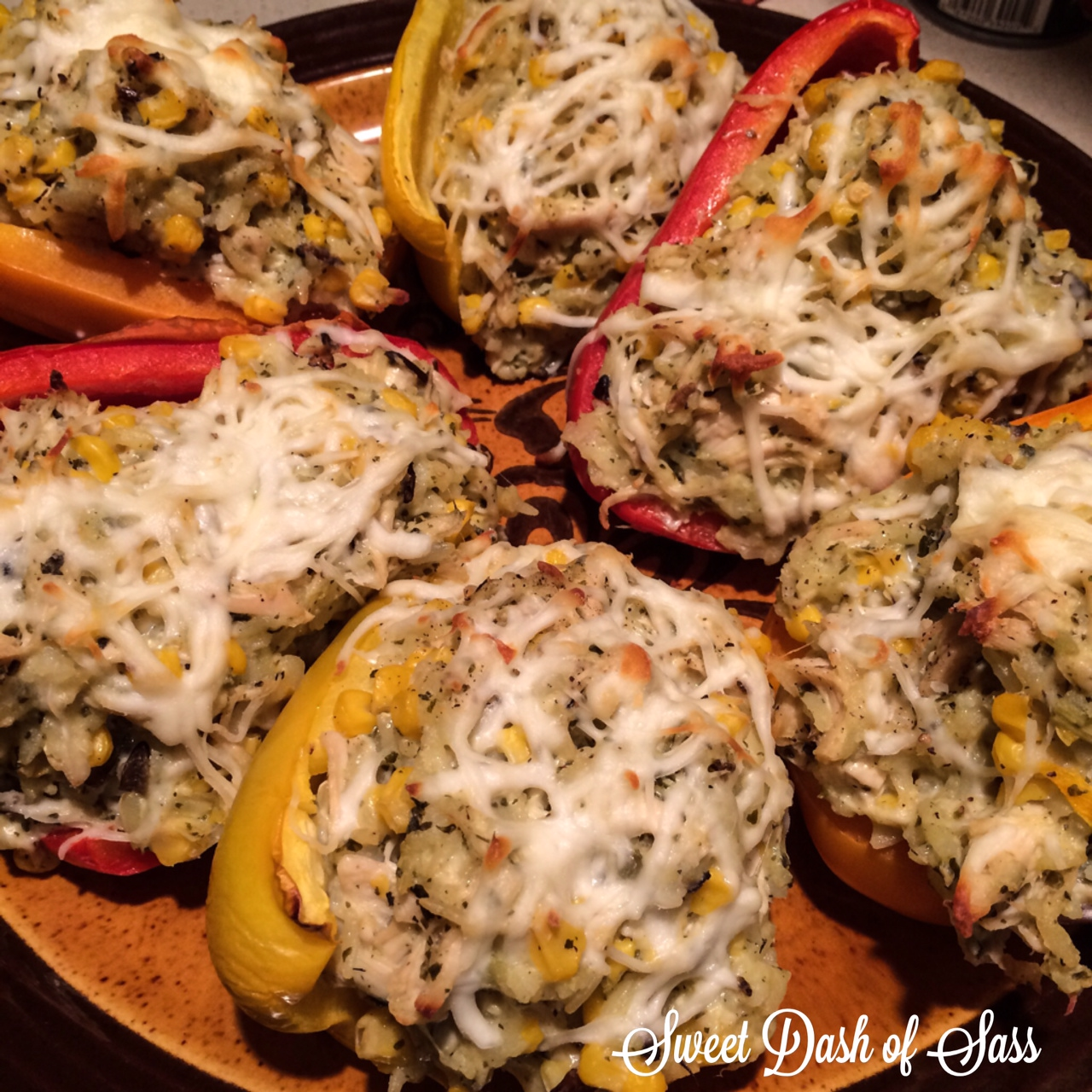 Pesto Chicken Stuffed Peppers - www.SweetDashofSass.com
