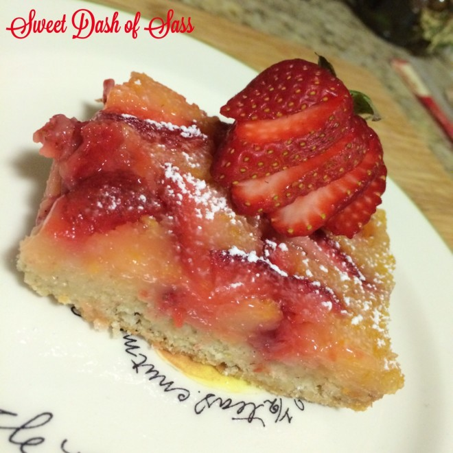 Strawberry Lemon Bars - Made with Meyer Lemons - Oh, so good!  -- www.SweetDashofSass.com