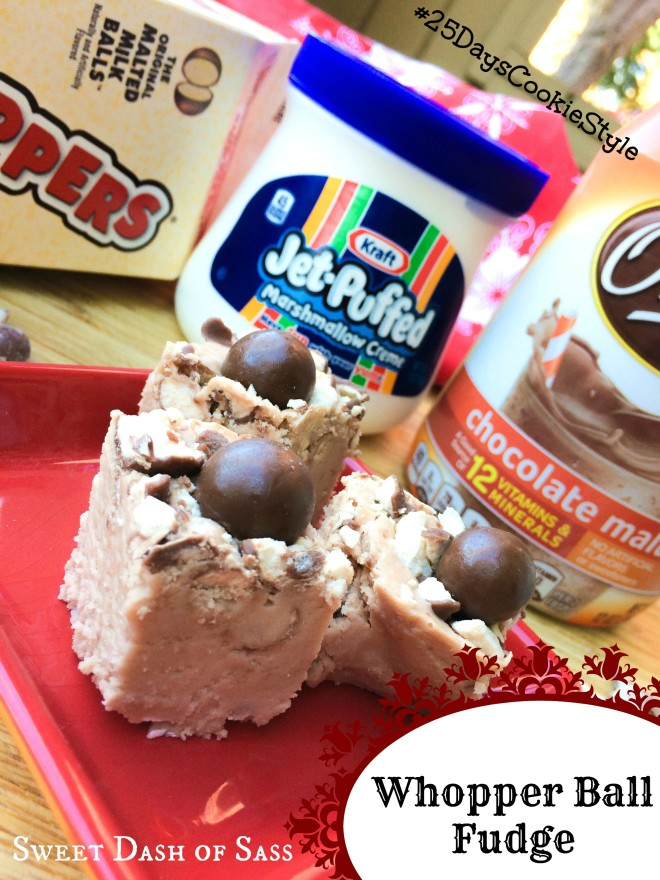 Whopper Ball Fudge made with Ovaltine - delish!  www.SweetDashofSass.com #25DaysCookieStyle