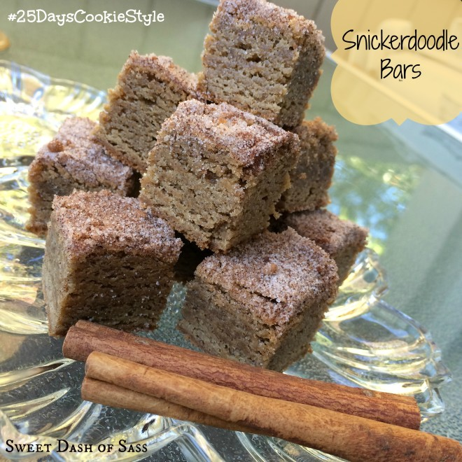 Snickerdoodle Bars - If you are a fan of cinnamon/sugar or even Snickerdoodles, this one is for you.  #25DaysCookieStyle www.SweetDashofSass.com