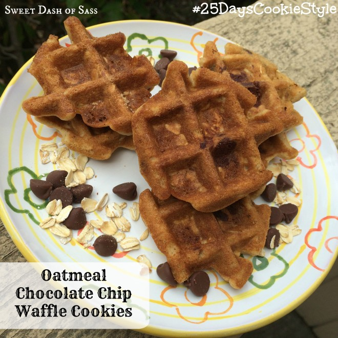 Oatmeal Chocolate Chip Cookies - No oven required!  Use your waffle iron.  #25DaysCookieStyle www.SweetDashofSass.com