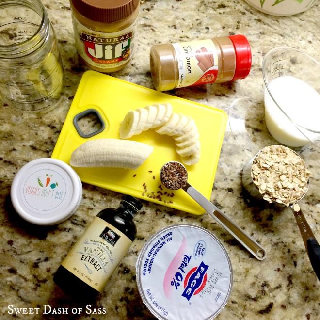 Peanut Butter & Banana Overnight Oats - www.SweetDashofSass.com