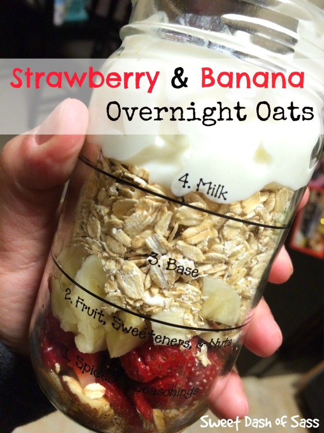 Strawberry & Banana Overnight Oats - www.SweetDashofSass.com
